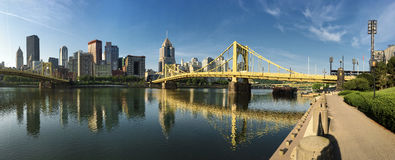 Panorama of the Pittsburgh city center between two bridges Stock Image