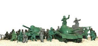 Panorama plástico del juguete de los tanques de batalla Imagenes de archivo