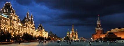 Panorama plac czerwony przy jeden letnim dniem - Moskwa nocą Obrazy Stock