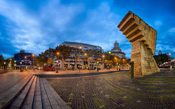 Panorama of Placa de Catalunya in the Morning, Barcelona, Spain Royalty Free Stock Photos