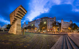 Panorama of Placa de Catalunya in the Morning, Barcelona, Spain Royalty Free Stock Image