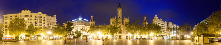 Panorama of  Placa del Ajuntament  in evening. Valencia Stock Photos