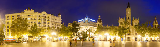 Panorama of  Placa del Ajuntament in  Valencia Stock Photos