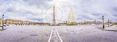 Panorama with Place de la Concorde in Paris. Panoramic view in Paris, France with the Place de la Concorde under a cloudy sky of February Royalty Free Stock Images