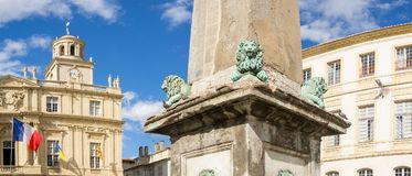 Panorama Place de Republique Arles, France royalty free stock images