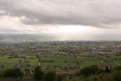 Panorama of the plain of Assisi, Italy Stock Image