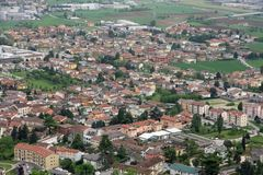 Panorama of the plain with the houses of the inhabitants of the Royalty Free Stock Images
