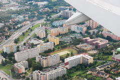 Panorama plain view. Berlin Panorama seen from the plane from landing royalty free stock image