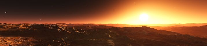Panorama planeta Mars Obrazy Stock