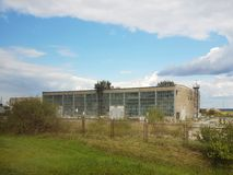 Panorama of the plant for the manufacture of various products. Production for the needs of the population. Industrial architecture. And technical premises royalty free stock image