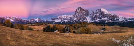 Panorama plateau Alpe di Siusi after sunset Stock Photography