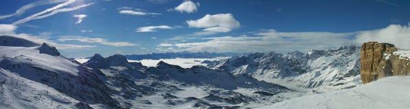 Panorama from Plateau Rosa Testa Grigia. Panorama view from the Rosa Testa Grigia Plateau in the Zermatt skiing region royalty free stock photography