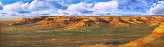 Panorama plateau Ustyurt in Kazakhstan stock photo