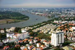 Panorama- plats av den Asien staden Arkivfoto