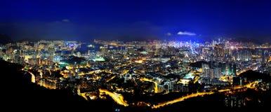 panorama- platser för Hong Kong natt Royaltyfria Bilder