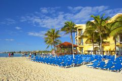 Panorama of Playa del Carmen beach, Mexico Royalty Free Stock Photo