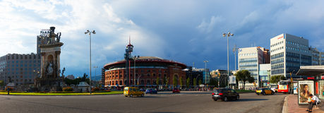 Panorama of Plaza de Espana with Arena Stock Photography