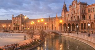 Panorama of Plaza de Espana in the evening in Seville stock footage