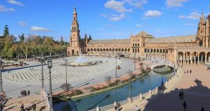 Panorama of Plaza de Espana made from above stock video footage