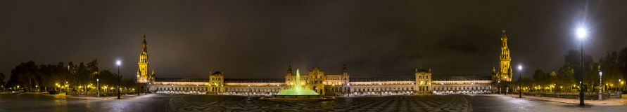 Panorama of Plaza de Espana at night. Seville, Spain Stock Photography