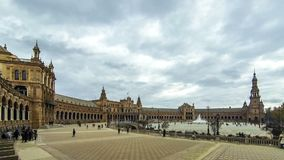 Panorama of Plaza de Espana in Seville, Andalusia, Spain. SEVILLE, SPAIN - DECEMBER 15, 2017: Panoramic view of the Spain Square Plaza de Espana in Seville stock video footage