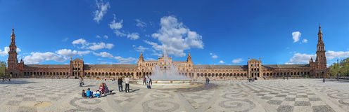 Panorama of the Plaza de Espana in Seville, Spain Stock Photo