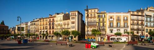 Panorama of Plaza del Castillo in Pamplona, Navarre Stock Images