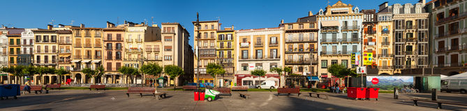 Panorama of Plaza del Castillo. Pamplona Stock Image