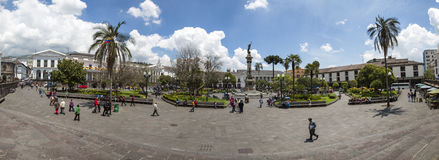 Panorama of Plaza Grande in old town Quito, Ecuador Royalty Free Stock Photos