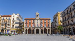Panorama of the plaza mayor with the town hall in Zamora. Spain Royalty Free Stock Photos