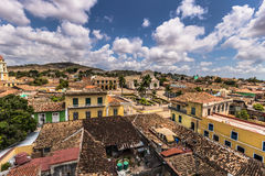 Panorama of Plaza Mayor in Trinidad, Cuba Royalty Free Stock Images