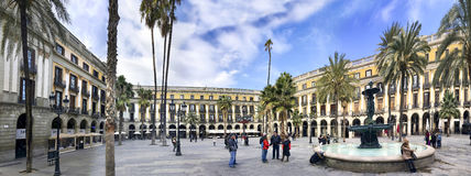 Panorama of  Plaza Real in Barcelona, Spain Stock Photos