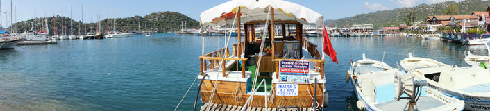 Panorama, pleasure boats Stock Photos