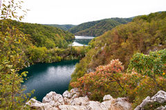 Panorama Plitvice. Autumn view over the blue lakes in Plitvice national park, an UNESCO world heritage site, in Croatia Stock Photo