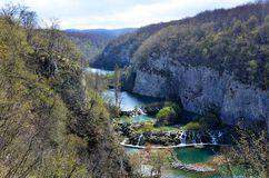 Panorama of the Korana River Vally Watterfalls at. Panoramic view of the numerous lakes and waterfalls formed by the rivers at Plitvice Lakes National Park Royalty Free Stock Images