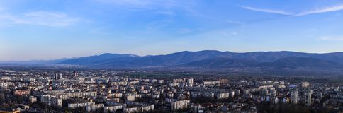 Panorama. Plovdiv, bulgaria, mountain, city, town, urban, sky, air, days, landscape, view, new, europe royalty free stock image