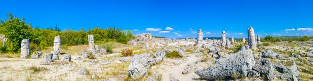 Panorama of Pobiti Kamani, Bulgaria. Pobiti Kamani Bulgarian, `planted stones`, also known as The Stone Desert, is a desert-like rock phenomenon located on the royalty free stock photography