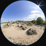 Panorama of Pobiti Kamani (Standing Stones, Stone Forest) Unique Royalty Free Stock Image