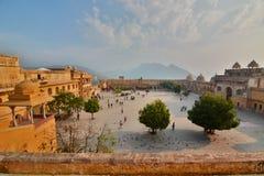 Panorama podwórze Amer pałac lub Amer fort () jaipur Rajasthan indu Zdjęcia Stock