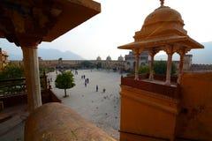 Panorama podwórze Amer pałac lub Amer fort () jaipur Rajasthan indu Obraz Royalty Free