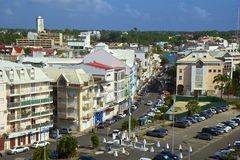 Panorama of Point a Pitre - capital of Guadeloupe, Caribbean. Point a Pitre - downtown of the capital in Guadeloupe royalty free stock images