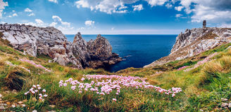 Panorama of Pointe du Pen-Hir with World War Two monument to the Royalty Free Stock Photos