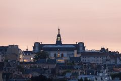 Panorama of Poitiers with city hall at sunset Stock Photo