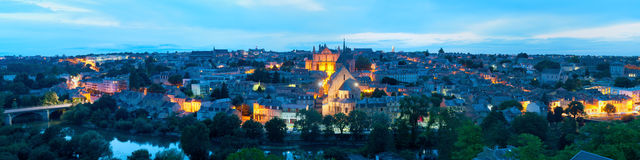 Panorama of Poitiers at night Stock Image