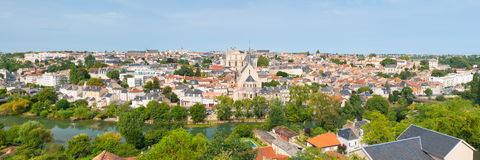 Panorama of Poitiers in summer Royalty Free Stock Images