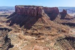 Panorama pokazuje wyspę w niebo mesach w Canyonlands parku narodowym Zdjęcia Royalty Free