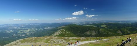 Panorama of the Polish Giant Mountains from the top of Sněžka. stock photography