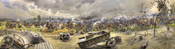 Panorama of the Poltava fight. On a panorama battle Peter's wax 1 both Charles 12, and cossacks is represented Stock Photography