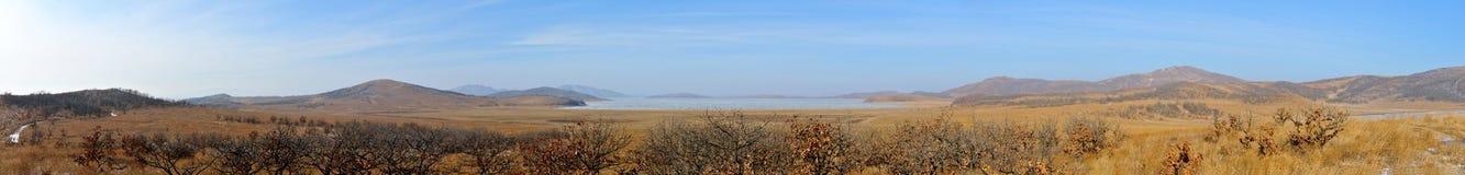 Panorama polusolenogo lake in winter. Stock Images