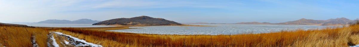 Panorama polusolenogo lake in winter. Stock Photo